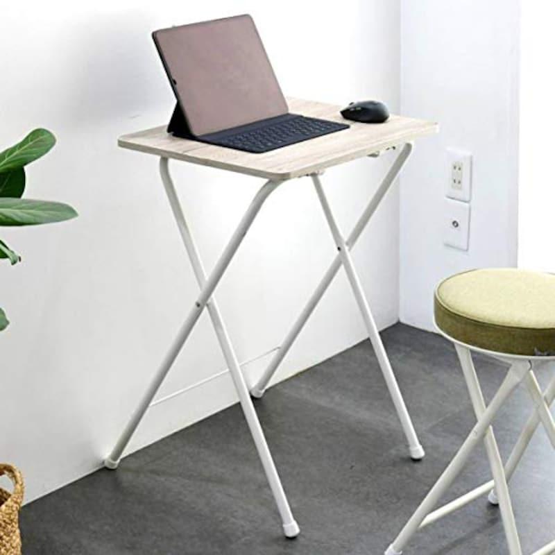 YAMAZEN(山善),折りたたみ サイドテーブル,RYST5040H(AIV/WH2)