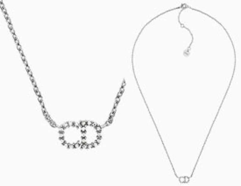 Christian Dior (クリスチャンディオール),ホワイトクリスタルペンダントネックレス CDロゴ