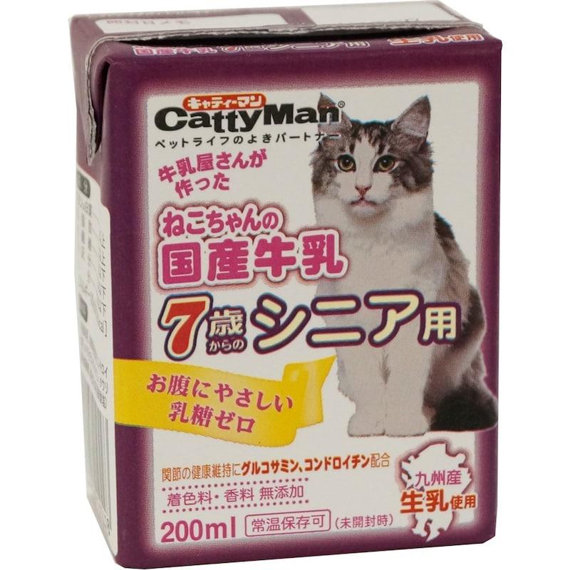 キャティーマン (CattyMan),ねこちゃんの国産牛乳7歳からのシニア用 200ml×24個入り
