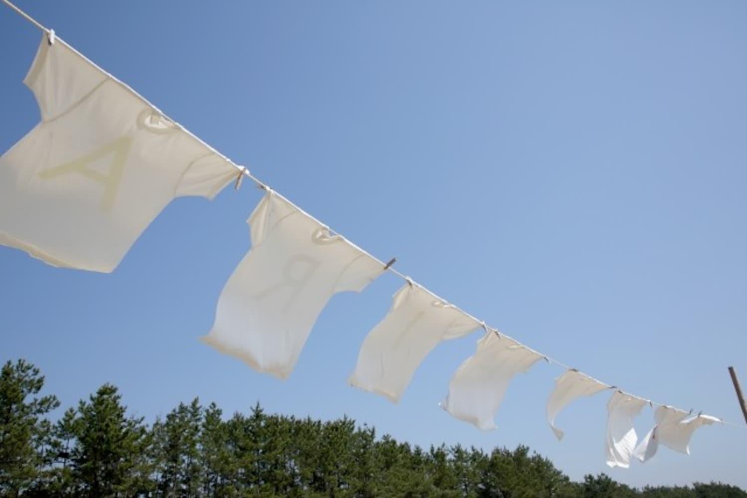 真っ白に洗い上がった洗濯物