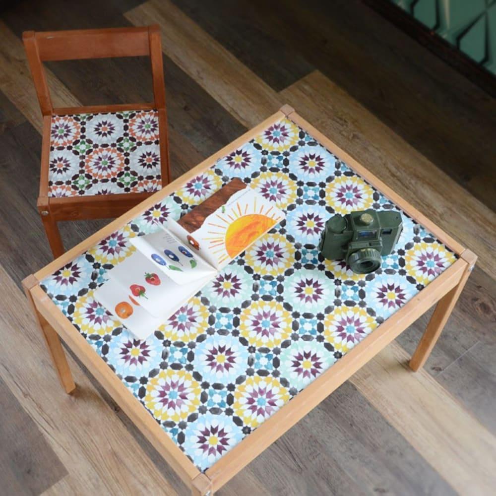 テーブルリメイク モロッコタイル柄