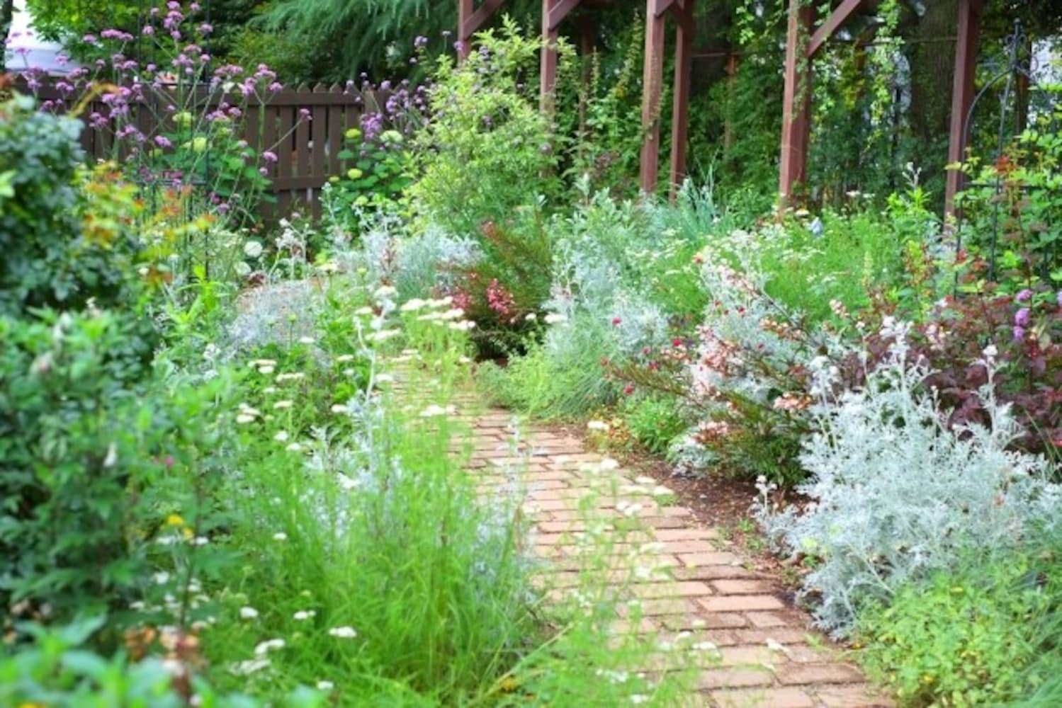 レンガタイルを敷いたお庭