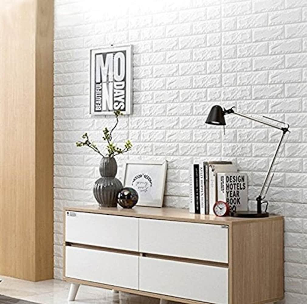 立体的な白レンガの壁紙