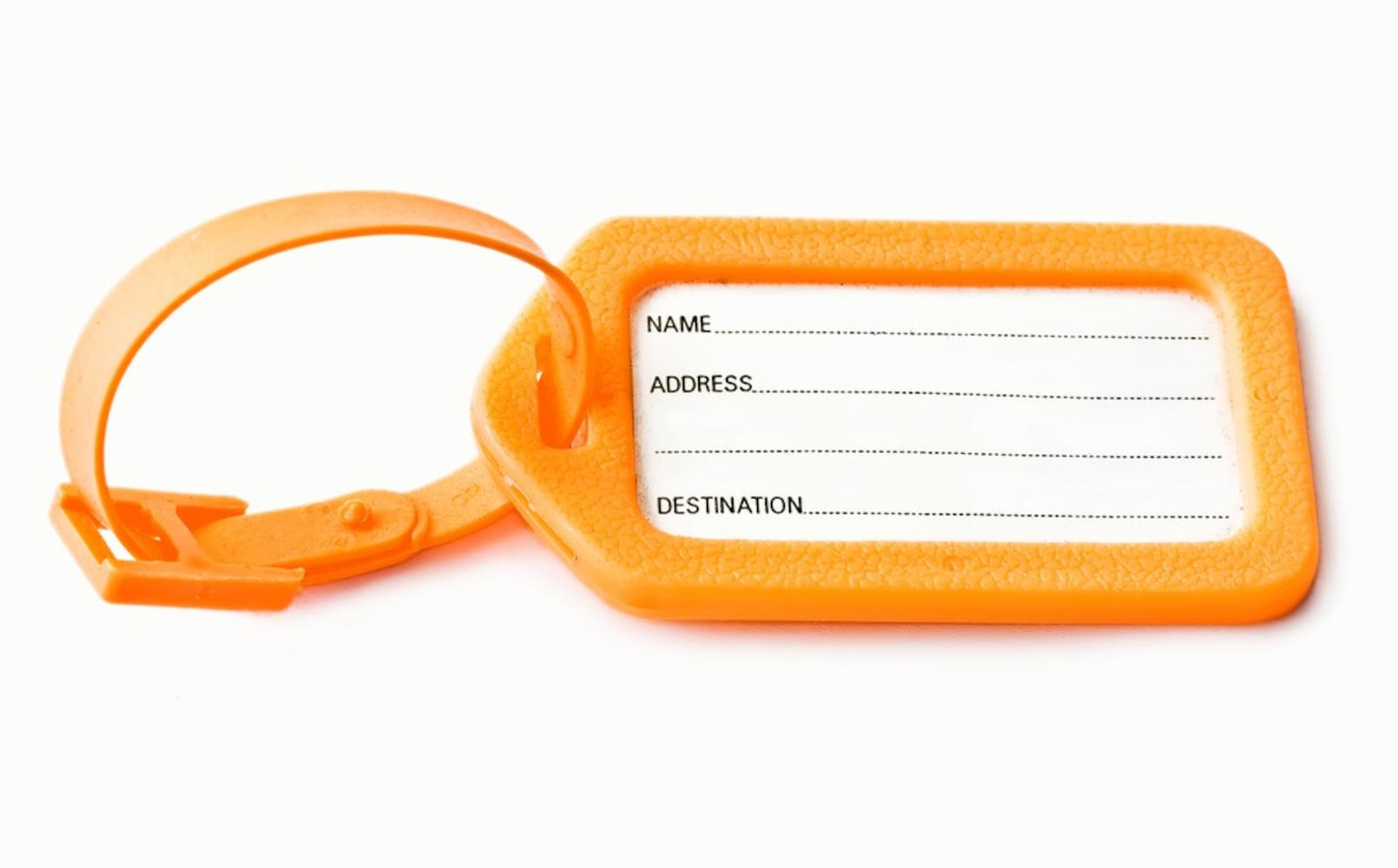 オレンジ色のスーツケース用ネームタグ
