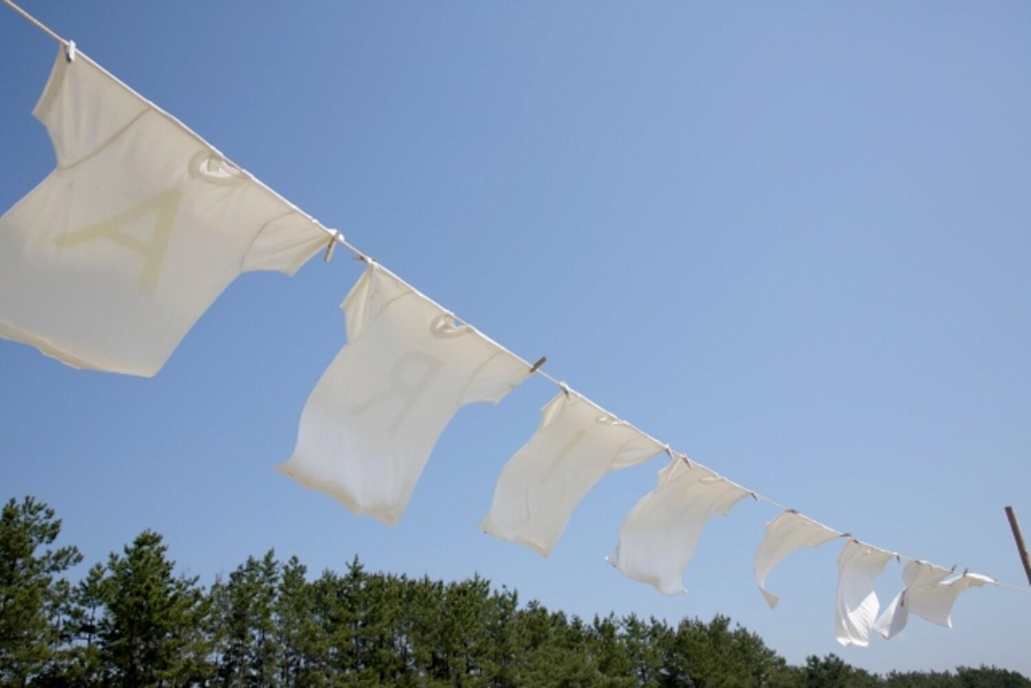 白く洗い上げた洗濯物