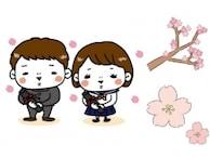 桜(さくら)のかわいい無料イラスト集 白黒・カラー