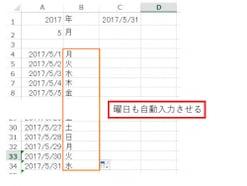 Excelで日付から曜日を自動で表示させる方法