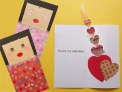 バレンタインカード手作り!ハートが飛び出すおかっぱちゃんポップアップカード