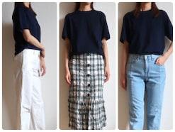 大人の女性にユニクロ1500円の紺メンズTがおすすめな理由