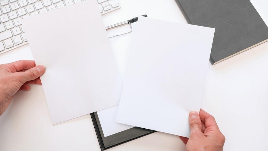 白色度|普通紙70~95%、加工紙80%、高白色度96~100%と使い分けを