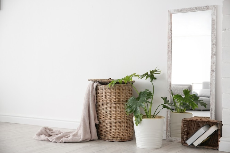 ■収納グッズは竹・ラタンなどのナチュラル素材を使用■