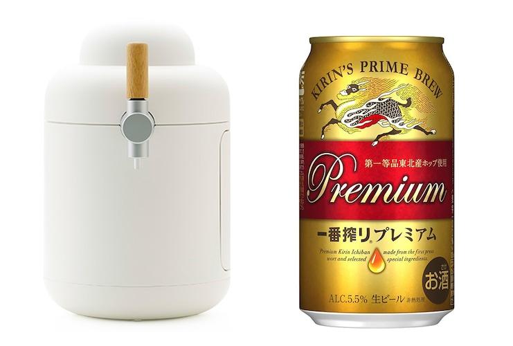一番搾りプレミアム缶とホームタップを並べる