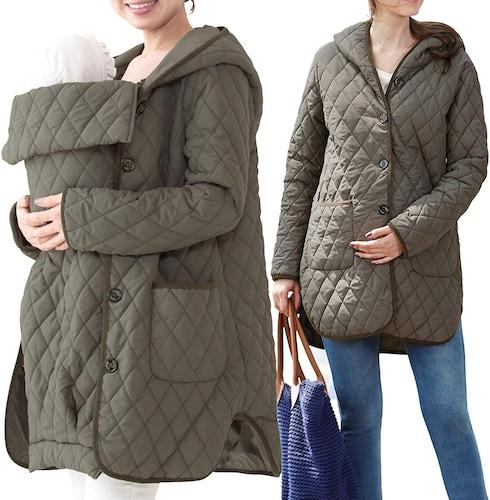 赤ちゃんをすっぽり包み込めるダッカー付きコート