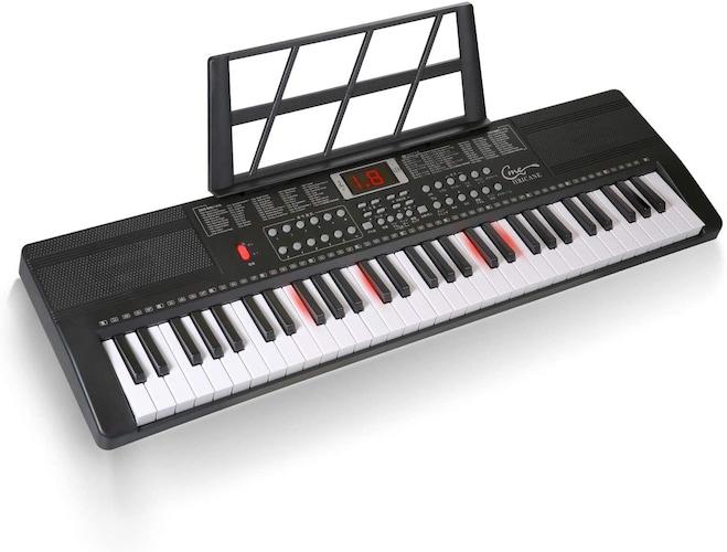 ▼光る鍵盤:楽譜がなくても楽しめる