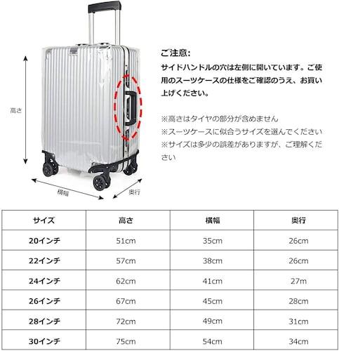 サイズ|装着するスーツケースに合わせる