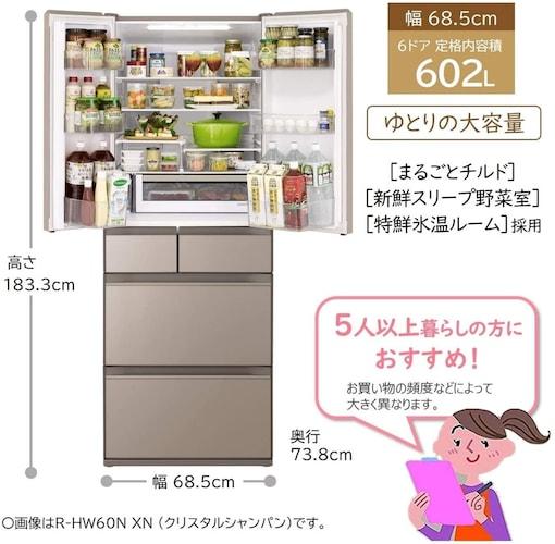 【5人家族以上】600L以上の超大型冷蔵庫が最適