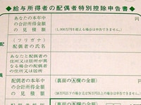 配偶者特別控除申告書記入のツボ