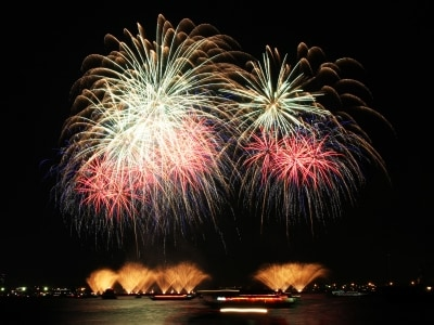 臨港パーク(有料エリア)から撮影した神奈川新聞花火大会のようす(2014年撮影)