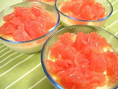 ピンクグレープフルーツの簡単ババロア
