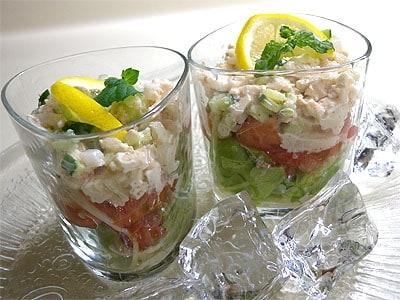 夏野菜と豆腐ディップサラダ