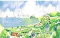 鎌倉投信のHPに掲載されている「100年後の豊かな鎌倉」。自然と人口物の調和がとれた豊かな社会が描かれています。
