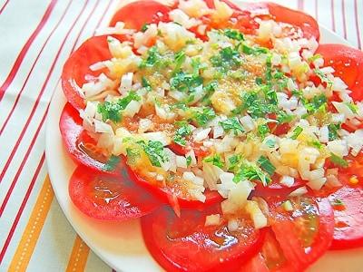 大量消費にも!和風玉ねぎドレッシングのトマトサラダ