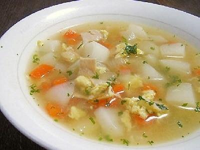 かぶとハムと卵の簡単スープ