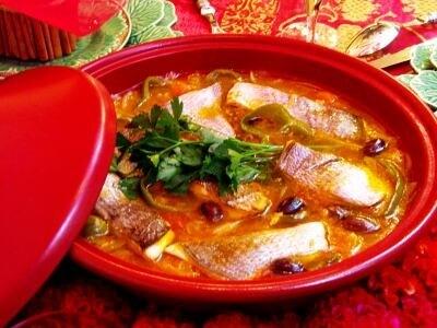白身魚とオリーブのタジン