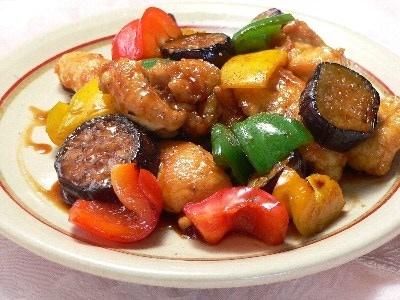 彩り野菜と鶏肉の照り焼き