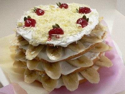Happy Xmas バナナのデコレーションケーキ