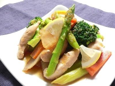 鶏ささ身と野菜の和風マリネ