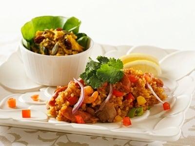 炊飯器で作る ジャンバラヤ&かぼちゃサラダ