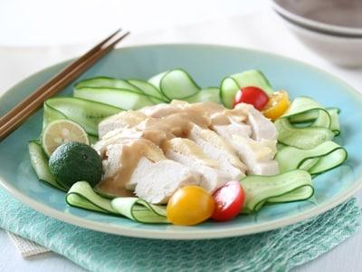 簡単レンジ蒸し鶏 バンバンジーソース