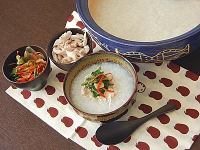 七草のしょうゆ漬けと中華粥