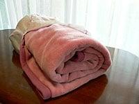 上のネットは毛布を丸めて入れるタイプ。縦半分の幅とネット幅がほぼ同じに作られています