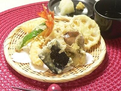 エビとレンコンと舞茸の天ぷら