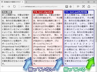 Edgeでの表示例(text-justifyプロパティも併記すれば、日本語文でも両端揃えができる)