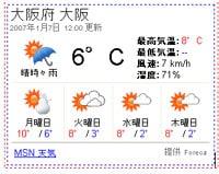 都道府県単位で天気を表示できる