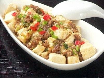 電子レンジで簡単に作る、マーボー豆腐