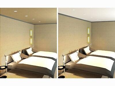 寝室の天井は白より少し暗めの壁紙を選ぶと落ち着いて安らげる。(絶対失敗しない!リフォームの壁紙選びより)