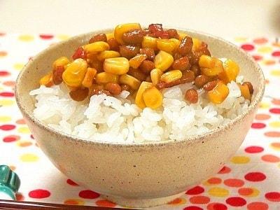 納豆のレシピ!子どもに人気の納豆とコーンの甘辛炒め
