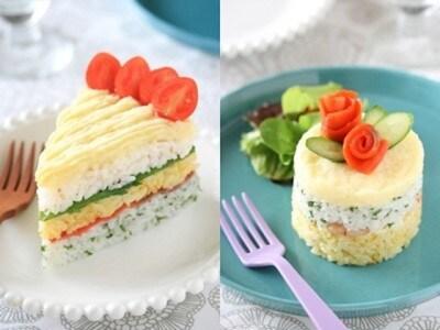 簡単デコ寿司ケーキ……彩り酢飯とサワーマッシュポテトで作る!