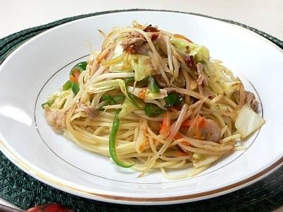 野菜炒めスパゲッティ