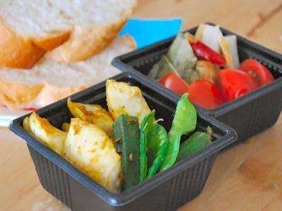 かじきのカレーソテーと夏野菜のクミン炒め弁当