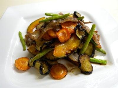 干し野菜と豚肉の炒め物