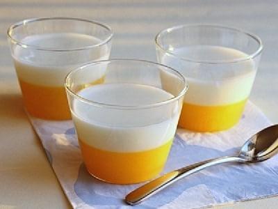 二色ゼリーのレシピ!オレンジヨーグルトゼリーの作り方
