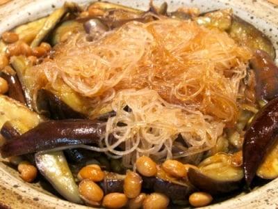 大豆となすと春雨の炒め物