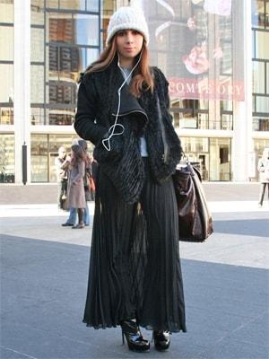 エアリーなプリーツマキシ丈スカート