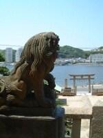 東叶神社(3)/拝殿より浦賀港西岸を望む