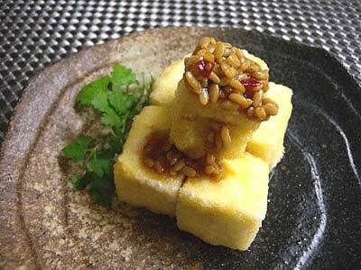 麹醤油と揚げ豆腐